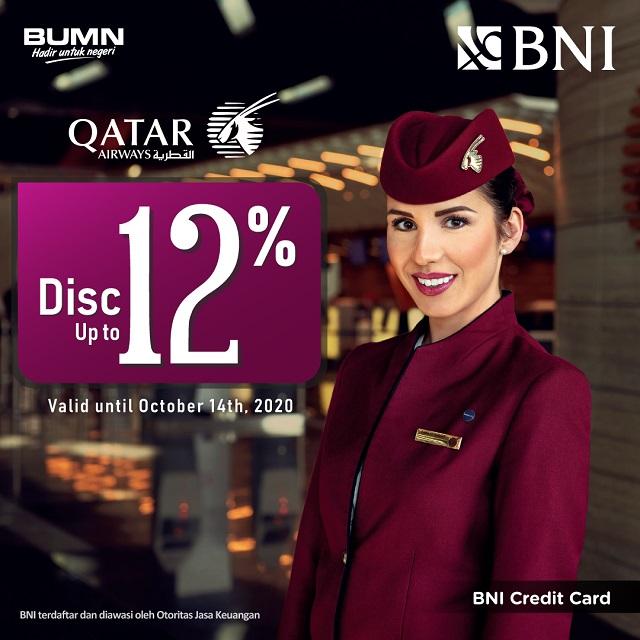 Diskon hingga 12% di Qatar Airways